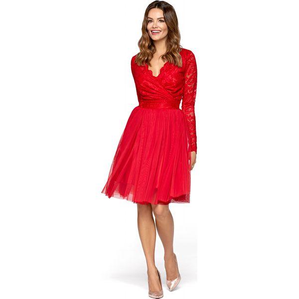 cf40234952 Czerwona Wieczorowa Sukienka z Tiulu i Koronki - Sukienki damskie ...