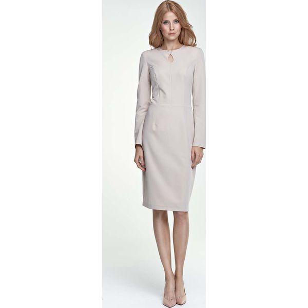 4c6e3d3316 Beżowa Sukienka Ołówkowa Midi z Łezką przy Dekolcie - Sukienki ...