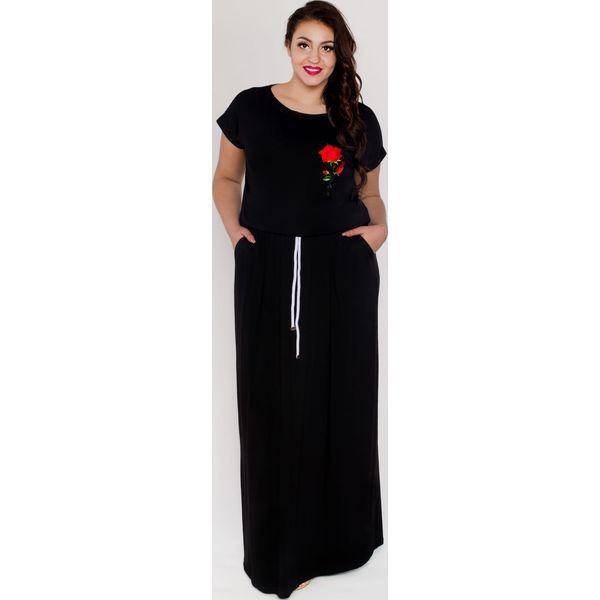 Czarna sukienka maxi długa z kieszeniami i sznurkiem oversize PLUS SIZE