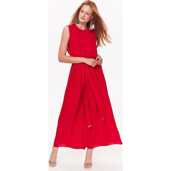 37f79f07075461 DŁUGA PLISOWANA SUKIENKA Z PASKIEM - Czerwone sukienki damskie marki ...