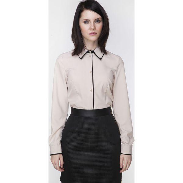 0708757405f2be Beżowa Biznesowa Koszula z Czarną Lamówką - Brązowe koszule damskie ...