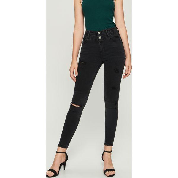 f4337c6e0cb530 Jeansy skinny z wysokim stanem - Czarny - Czarne jeansy damskie ...