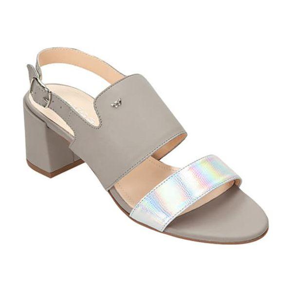 fa7b866f9ffc4 Skórzane sandały w kolorze szarym - Szare sandały damskie marki Wojas, w  paski, ze skóry, z otwartym noskiem, na wysokim obcasie, z paskami.
