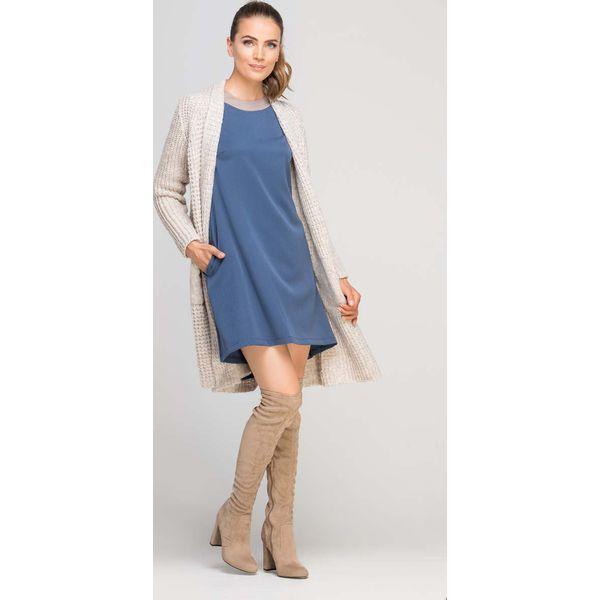 d8102e5cde Niebieska Sukienka Trapezowa z Ozdobną Listwą przy Dekolcie - Sklep ...