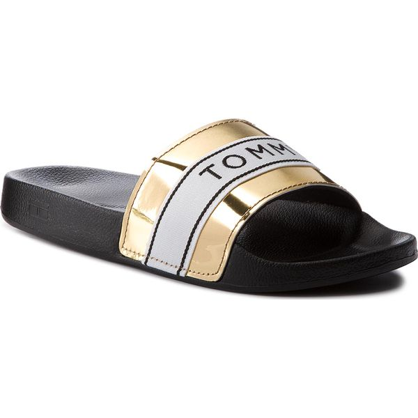 477669a75e522 Klapki TOMMY HILFIGER - Mirror Metal Beach Slide FW0FW03405 Light ...
