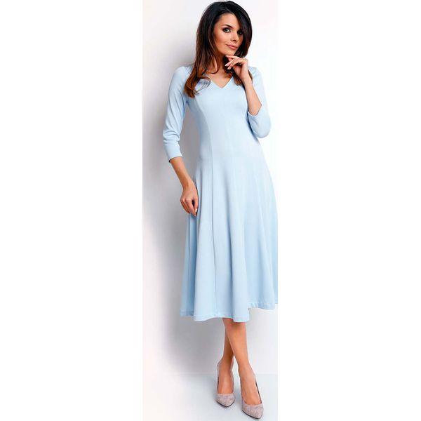 eb3d1416fa Niebieska Elegancka Rozkloszowana Sukienka z Dekoltem V - Niebieskie ...