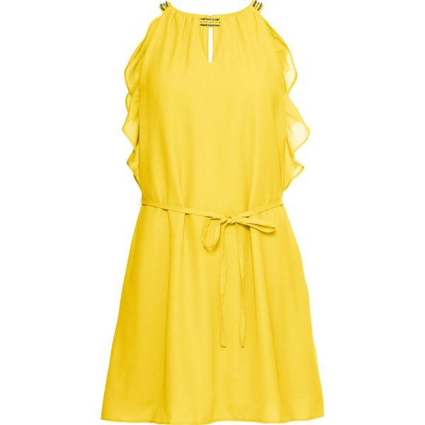 84befe7aa6 Sukienka szyfonowa z falbaną bonprix żółty - Sukienki damskie marki ...