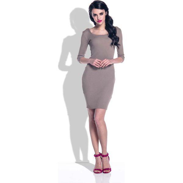 4d262e6325 Cappuccino Sukienka Bodycon z Rękawami 3 4 - Sukienki damskie marki ...