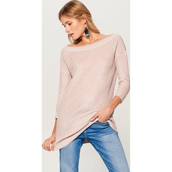 e2d5f0e73ea7e Długi sweter z prostym dekoltem - Różowy - Swetry nierozpinane ...