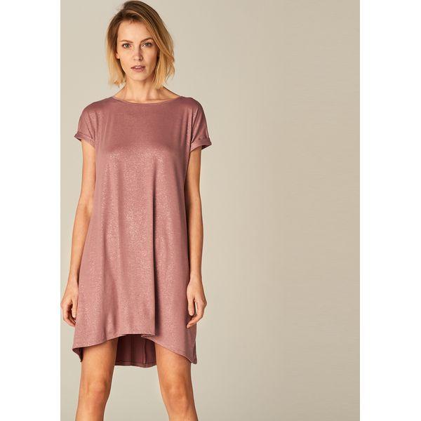 9f9ab0a954f51 Luźna sukienka z asymetrycznym dołem - Różowy - Czerwone sukienki ...