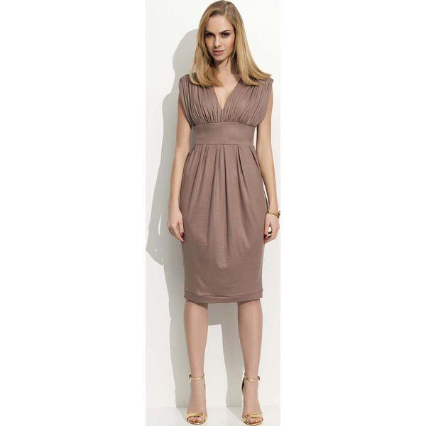9cdc38d186 Cappuccino Sukienka Dzianinowa z Marszczeniami - Szare sukienki ...