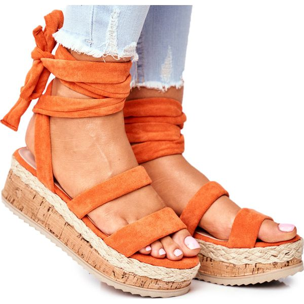 HAN Sandały Damskie Na Platformie Wiązane Pomarańczowe La Favorite
