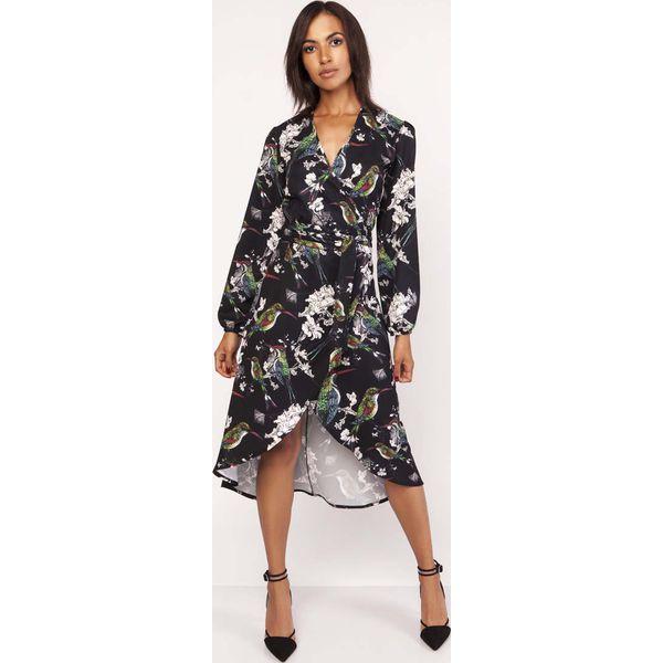 48e844c95f Asymetryczna Ultra Kobieca Sukienka Kopertowa w Ptaki - Czarne ...