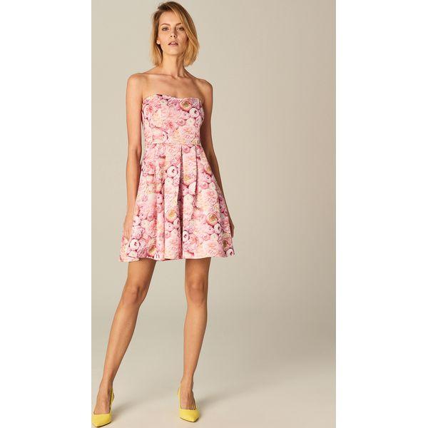 476a8c826c Rozkloszowana sukienka bez ramiączek - Różowy - Czerwone sukienki ...