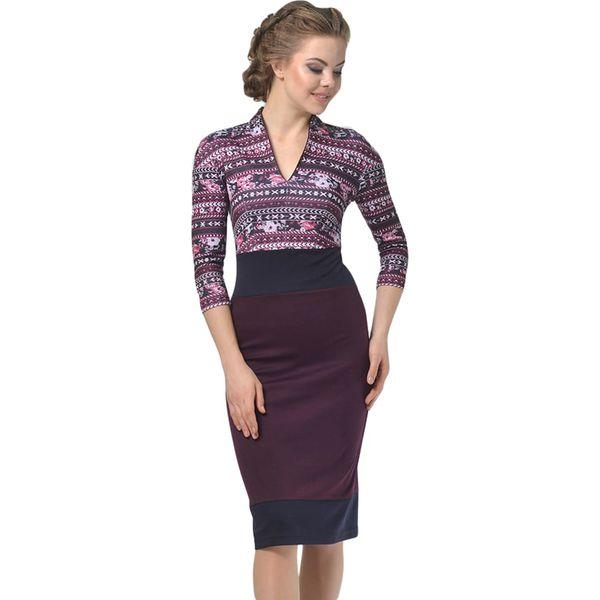 0d9ae93196 Sukienka w kolorze fioletowym ze wzorem - Fioletowe sukienki damskie ...