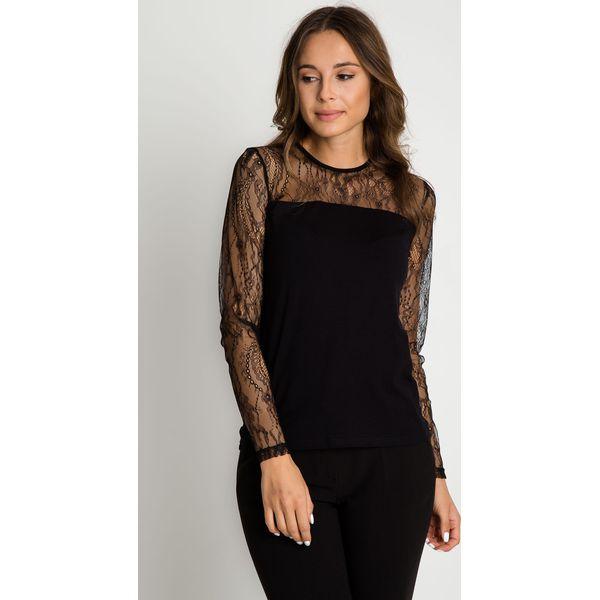 b6d30ce750 Czarna bluzka z koronkowymi rękawami BIALCON - Czarne bluzki damskie ...