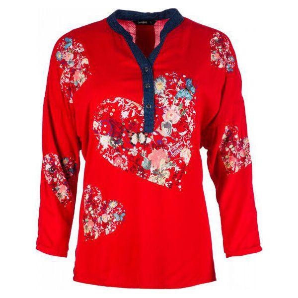 3fe8bb048ad75f Desigual Bluzka Damska Temis, Xs, Czerwona - Czerwone bluzki damskie ...