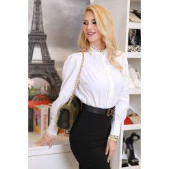Biała odzież damska Koszula damska DILORA, bez kołnierzyka  gytGI