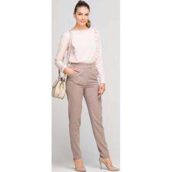 5de6bcc0c5 Beżowe Eleganckie Spodnie z Podwyższonym Stanem. Spodnie materiałowe damskie  marki Molly.pl. Za