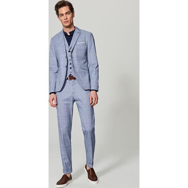d8c1eee03dcac Spodnie garniturowe w kratę - Niebieski - Garnitury męskie marki ...