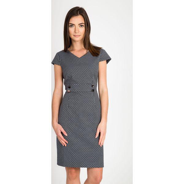 14f9fc52d8 Granatowa wizytowa dopasowana sukienka QUIOSQUE - Sukienki damskie ...
