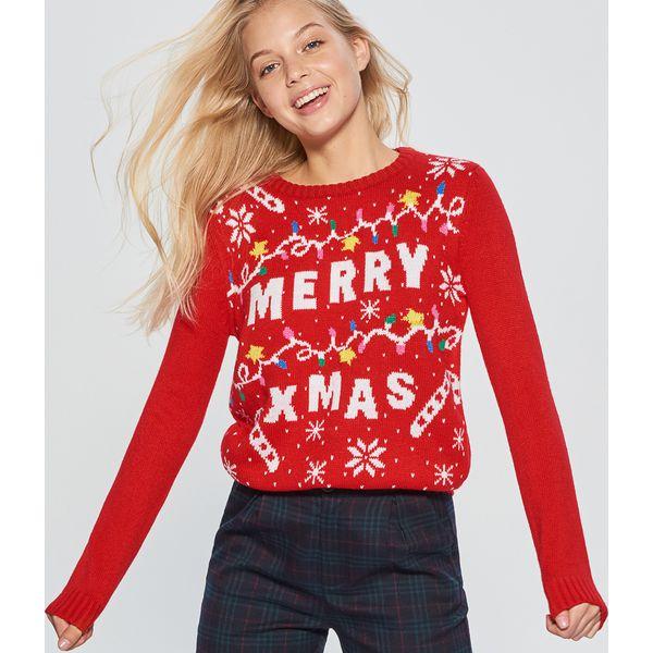 01831272e829 Świąteczny sweter - Czerwony - Swetry nierozpinane damskie marki ...