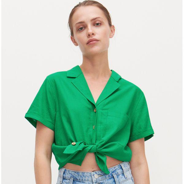 Koszula z lnu i wiskozy Zielony Zielone koszule damskie  zPszN