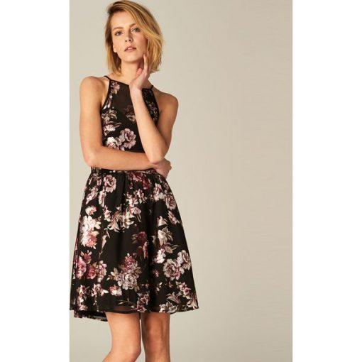 b34ee310 Rozkloszowana sukienka z dekoltem halter - Czarny