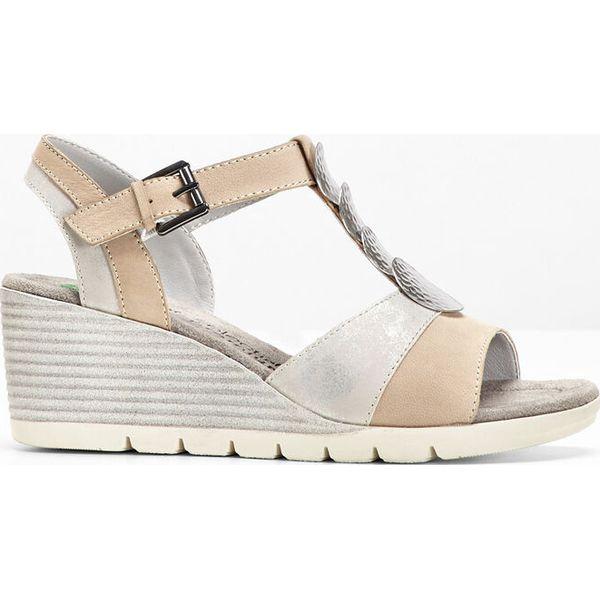678f9935 Wygodne sandały skórzane bonprix szaro-srebrny - Szare sandały ...