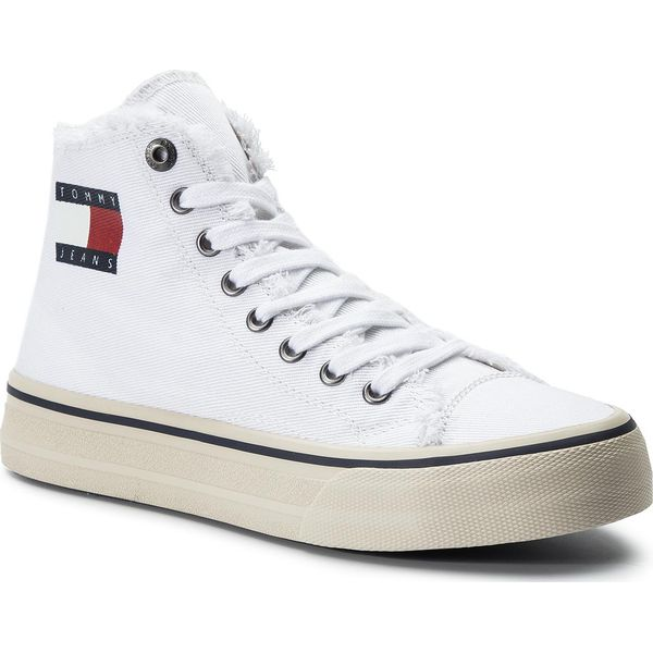 Tenisówki TOMMY JEANS Hightop Tommy Jeans Sneaker EM0EM00287 White 100