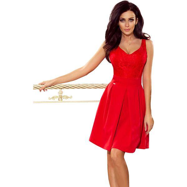 326c0b1739 Czerwona Koktajlowa Rozkloszowana Sukienka z Koronką - Czerwone ...