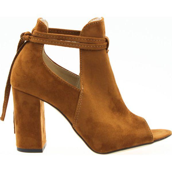 Sandały botki odkryta pięta brązowe Estetino (39)