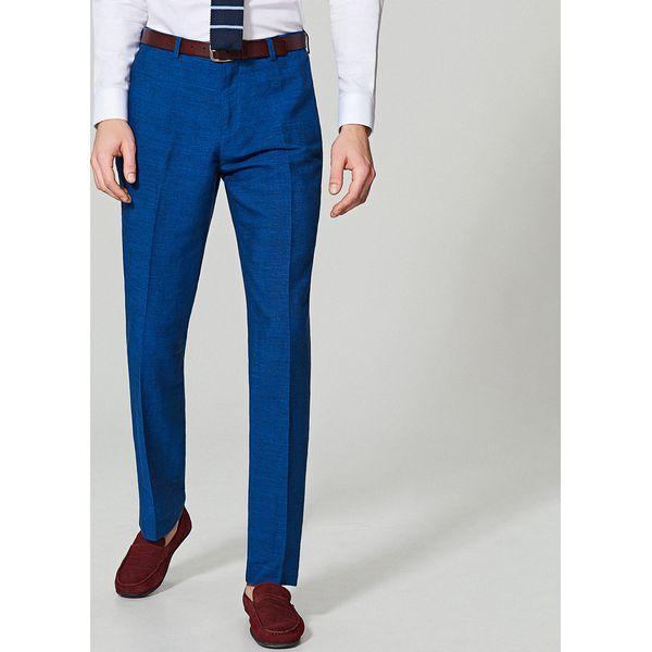 65e2149f009d2 Spodnie garniturowe z lnem regular fit - Niebieski - Sklep Radio ZET