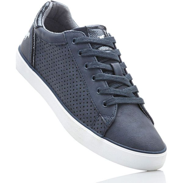 8e9faae89fe47 Sneakersy Mustang bonprix ciemnoniebieski - Niebieskie obuwie sportowe  damskie marki bonprix, w ażurowe wzory, na sznurówki. Za 99.99 zł.