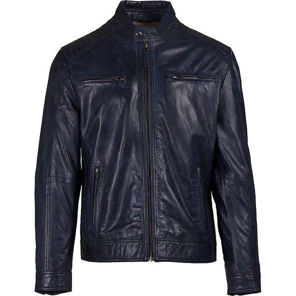 3bc302710bec8 Skórzana kurtka w kolorze granatowym - Niebieskie kurtki męskie marki  Helium