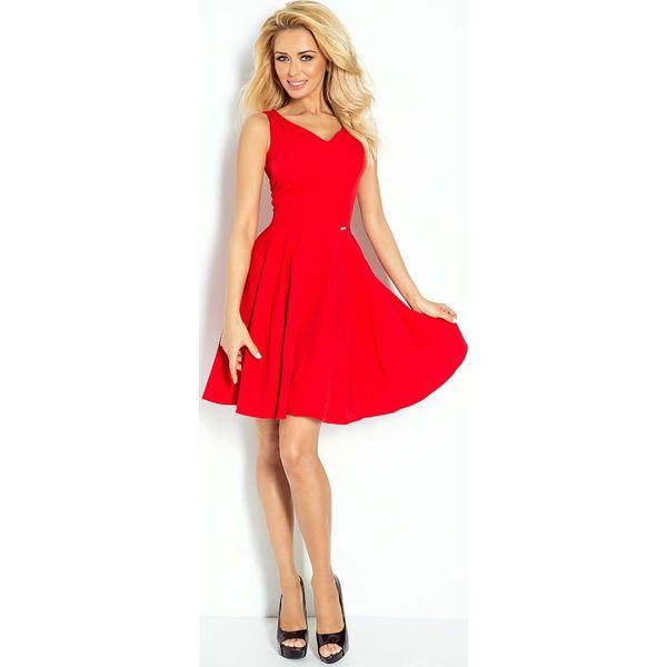 15318e492f Czerwona Sukienka Elegancka Rozkloszowana na Szerokich Ramiączkach ...