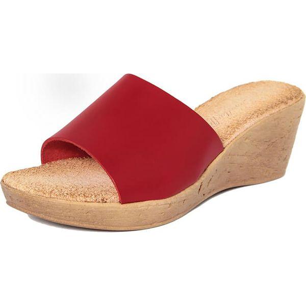 3f72af07ab19c Skórzane klapki w kolorze czerwonym - Klapki damskie marki ...