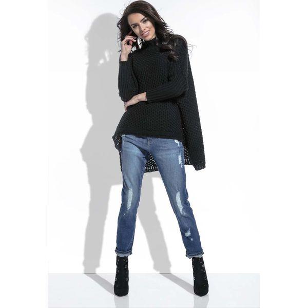 8eef0942b207 Czarny Sweter Oversize z Golfem - Czarne swetry nierozpinane damskie marki  Molly.pl