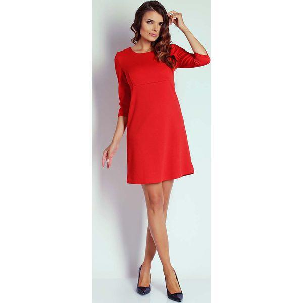 5be77c384b Czerwona Trapezowa Sukienka Koktajlowa z Rękawem 3 4 - Sukienki ...