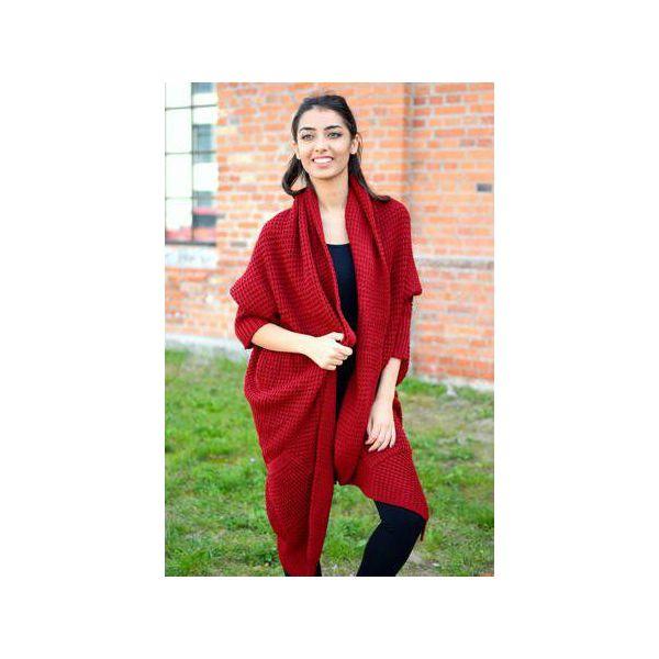 19133c83fc161a bordowy asymetryczny sweter damski, jesienny sweter damski, długi ...