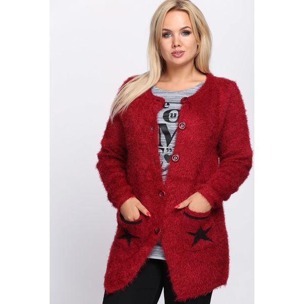 ce9225845d1b4 Bordowy Kardigan Shiny Lady - Czerwone kardigany damskie marki ...
