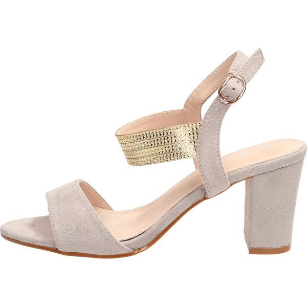 Sandały na słupku Filippo DS817 szaryzłoto Szare sandały