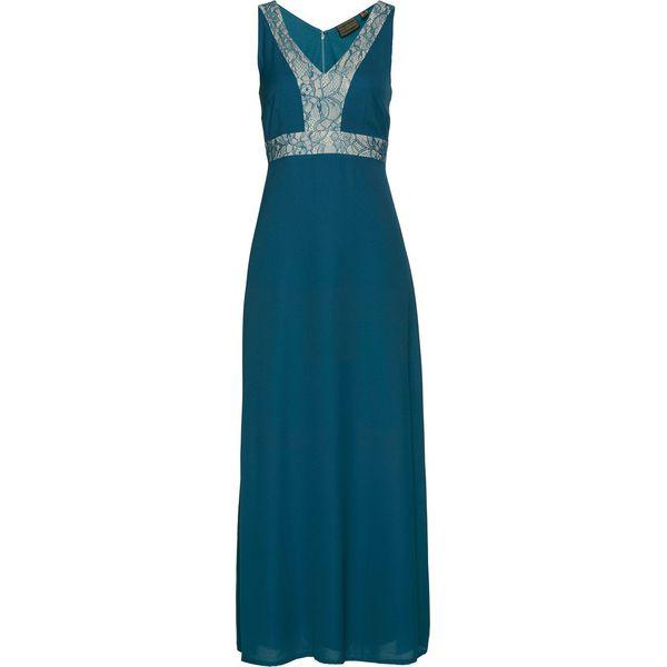 6907bf1fb Długa sukienka bonprix niebieskozielono-beżowo-szary - Niebieskie ...