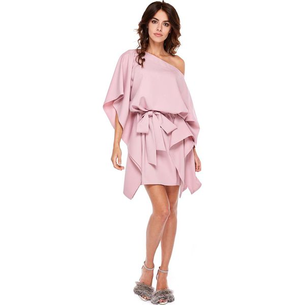 2afa0974e2719 Ciemno Różowa Luźna Asymetryczna Sukienka z Wiązanym Paskiem ...