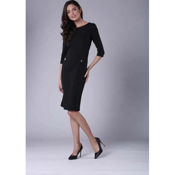 302814ac Czarna Stylowa Sukienka Ołówkowa z Ozdobnymi Guzikami