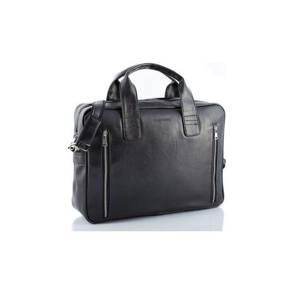 a1c677131dfe5 Czarna skórzana torba na ramię brodrene b02, Kolor wnętrza: Czarny ...
