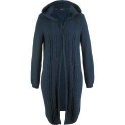 Długi sweter rozpinany z kapturem bonprix ciemnoniebieski