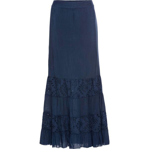 31d5cfa4 Długa spódnica z koronkowymi wstawkami bonprix ciemnoniebieski z efektem  wytarcia