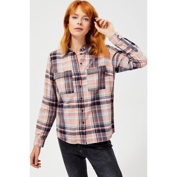 Koszula w kratę z cekinami przy kieszonkach Niebieskie  UqZnP