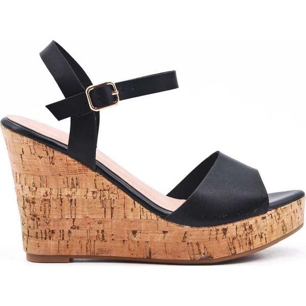 Sandały na korkowym koturnie czarne (37)